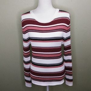 It's Our Time Striped Ribbed Knit Pullover Sweater